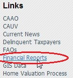 Links, CAAO, CAUV, Current News, Delinquent Taxpayers, FAQs, Financial Reports (circled), GIS Data..